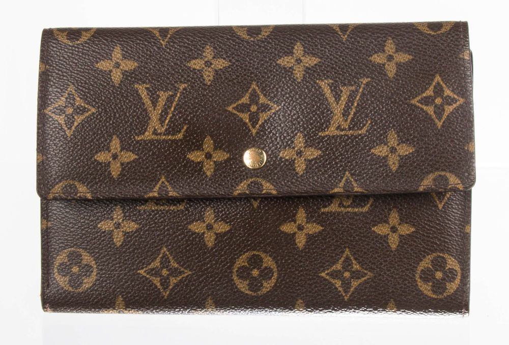 Louis vuitton brown monogram coated canvas trifold wallet