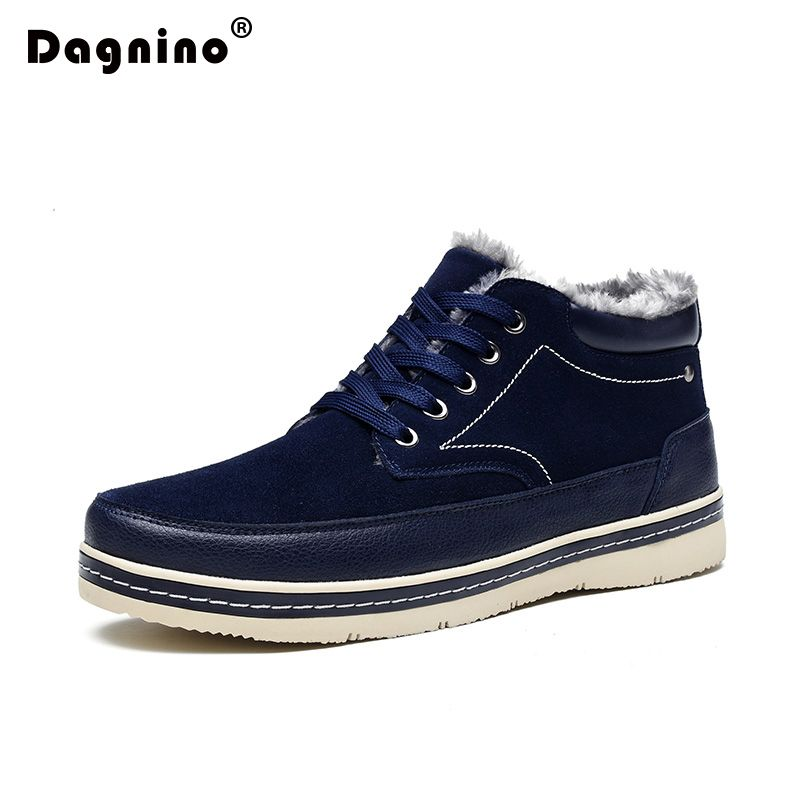 Fashion Men's Winter Snow Boots Ankle Thick Plush Warm Lace Up Leather Casual Shoes