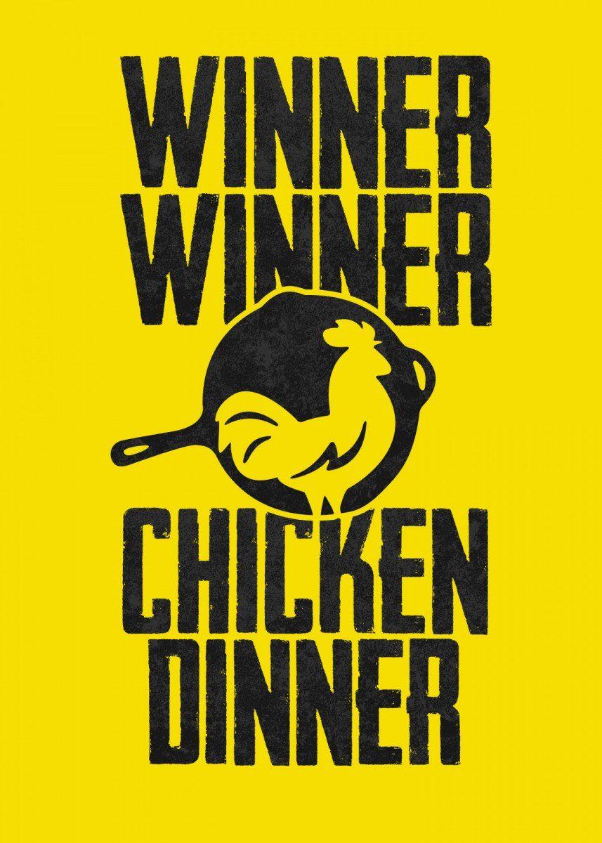 Pubg Winner Chicken Dinner Text Art Poster Print Metal Posters Displate Chicken Dinner Text Art Posters Art Prints