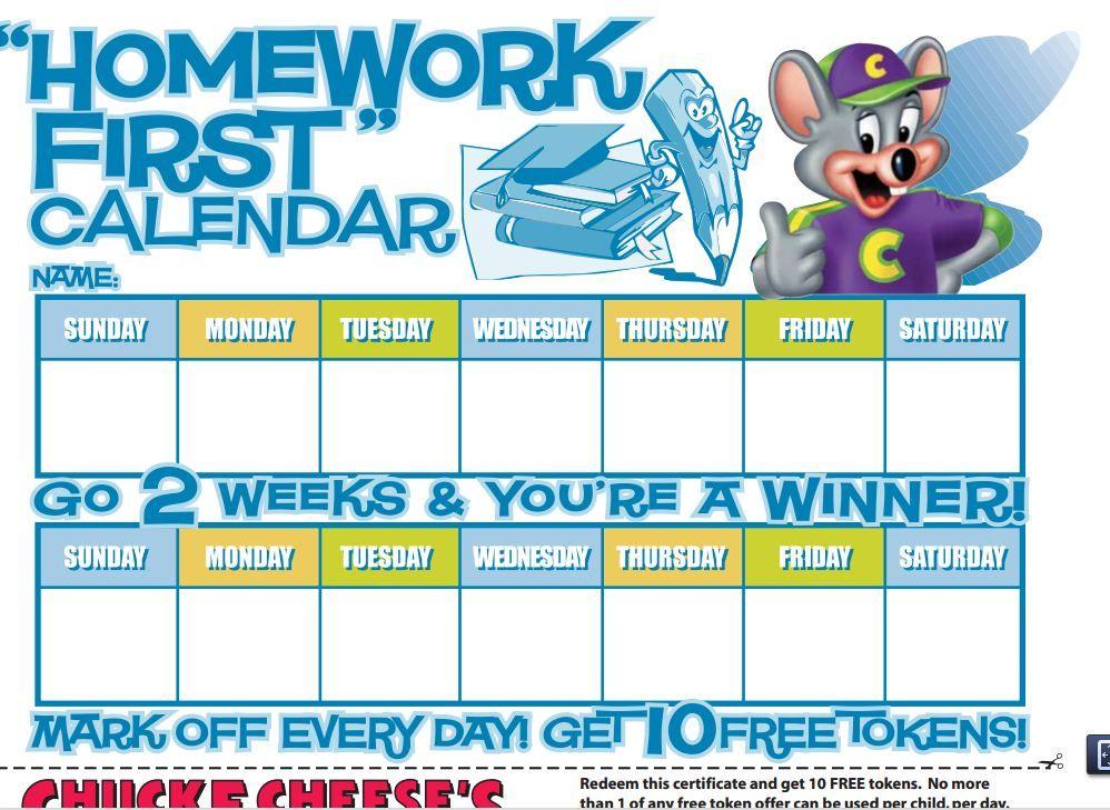 printable homework chart