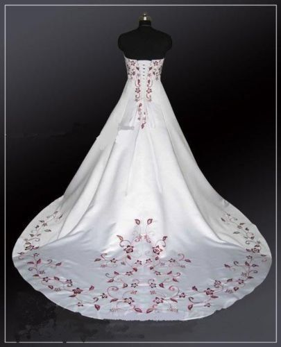Wedding Dresses Flower Embroidered Lace White Ivory Red Flower