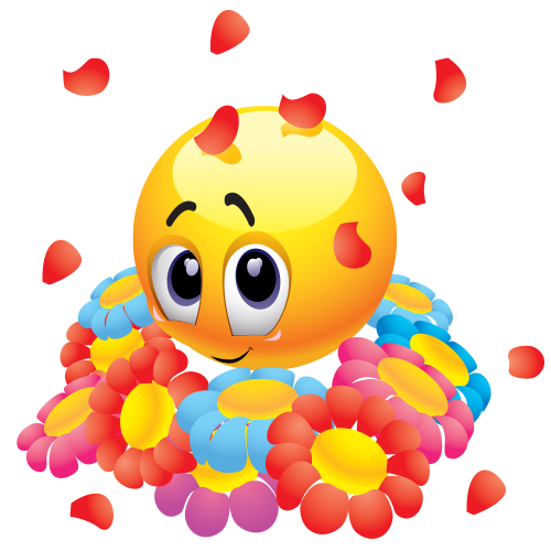 Sweet Emoticon with Flowers Happy smiley face, Smiley