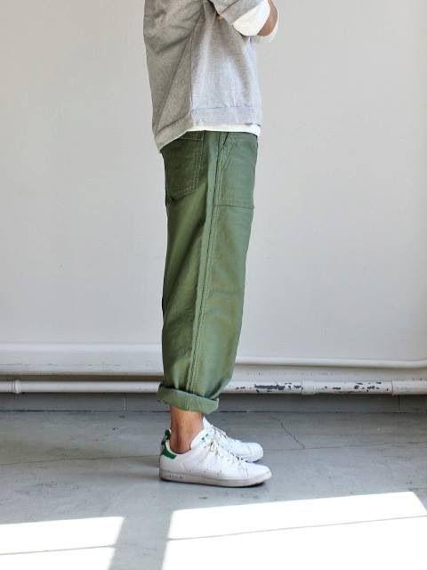 5c74e3c52f grey top, green rolled pants & stan smith kicks #style #fashion #