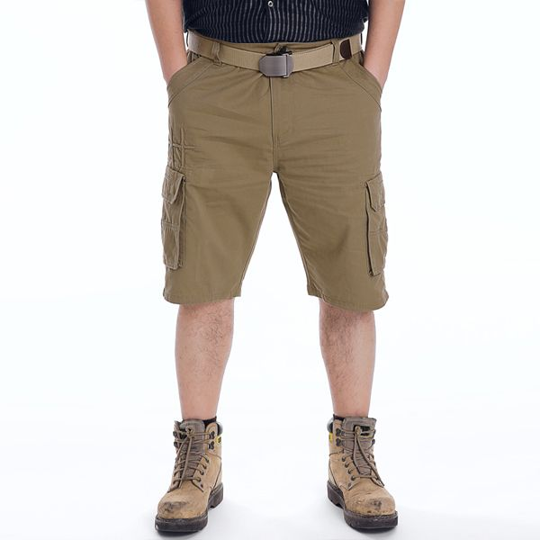 dca367ef15b26 ChArmkpR Plus Size 30-46 Mens Military Multi Pocket Cargo Shorts Cotton  Solid Color Work Shorts