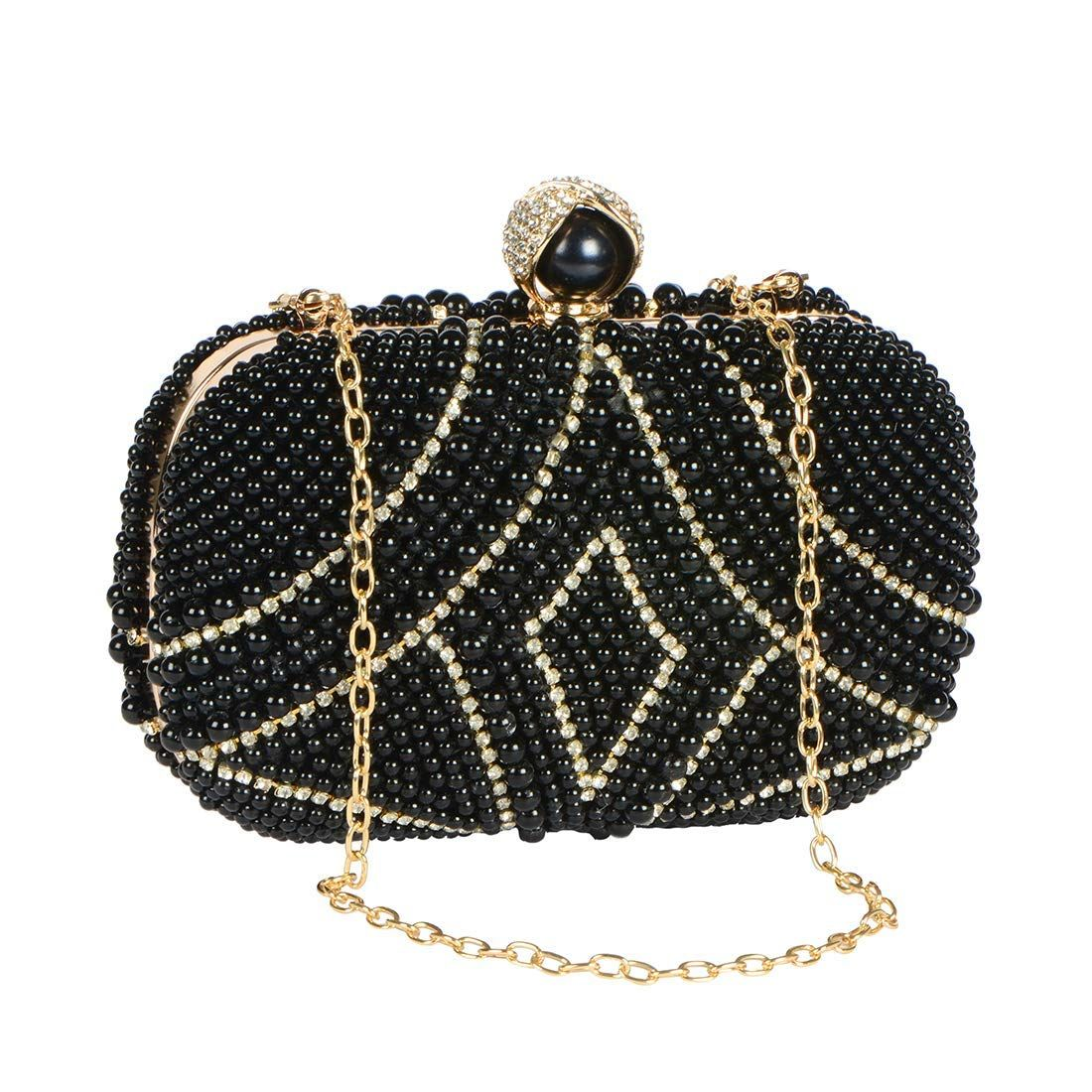 a6da82799a Buy Stripes Luxury Evening Handbag Full Beaded Crystal and Pearl Party  Wear/Wedding Purse Bridal