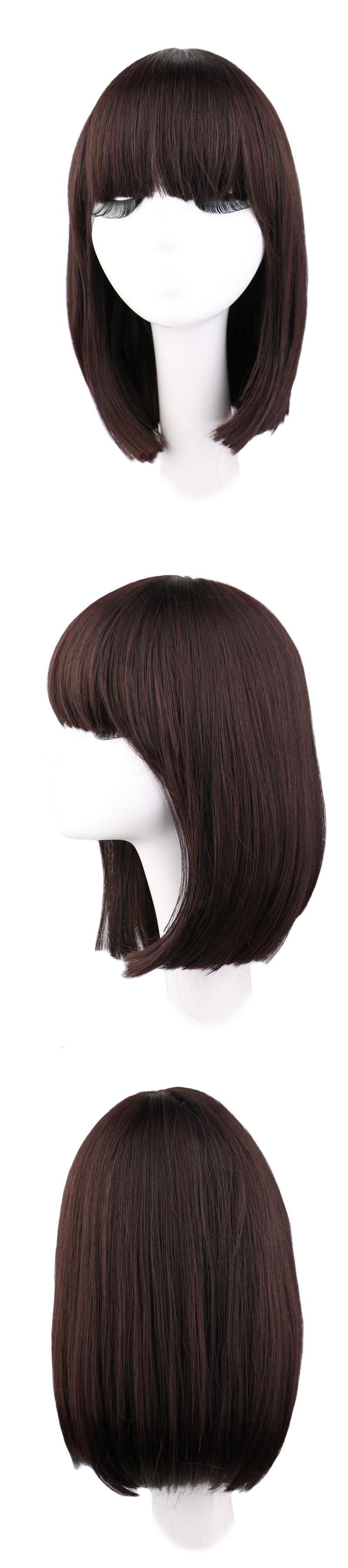 Visit to buy qqxcaiw medium long straight natrual dark brown cm