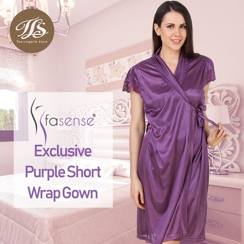 00b24567a9 Shop Fasense Exclusive Purple Short Wrap Gown at best price on https    tlslingerie
