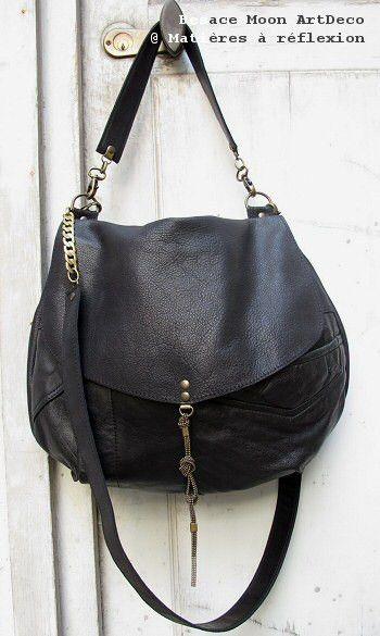 366addea72a9 Besace Moon en cuir vintage noir Sac Besace Cuir Femme, Sac A Main Cabas,