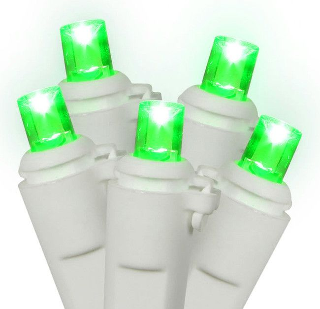 Set of 60 Green LED Wide Angle Christmas Lights - White Wire