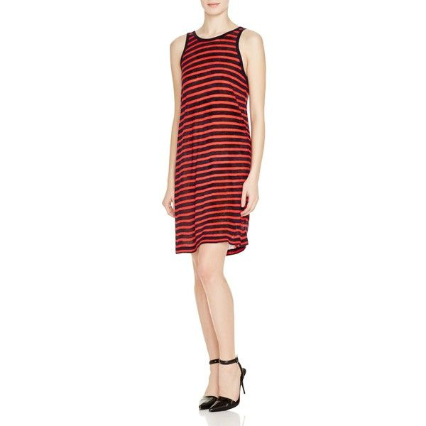 T by Alexander Wang Stripe Tank Dress (4,600 THB) ❤ liked on Polyvore featuring dresses, nautical striped dress, red tank top dress, red tank dress, tanktop dress and nautical dress