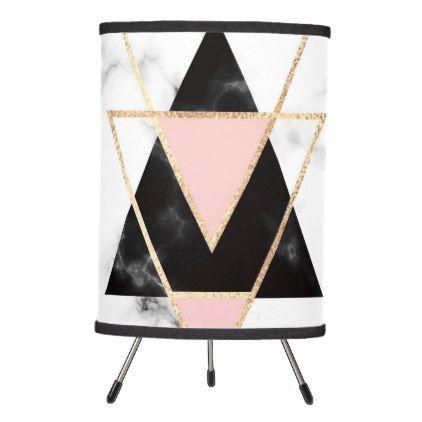 #Trianglesgoldblackpinkmarblescollagemodernt Tripod Lamp - #home #lamps #decor #lamp #tablelamp #tablelamps #home #living