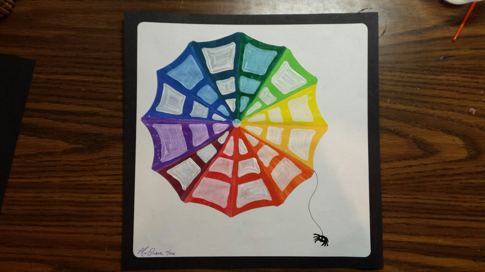 Color Wheel Spider Web 5th Grade Art Project In