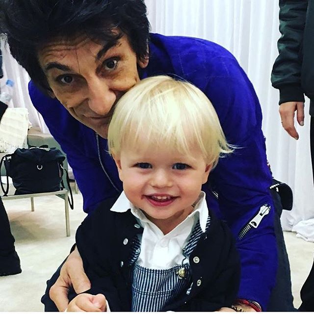 #ronniewood and #jadejagger 's son #rayfillary #backstage #thestones #therollingstones