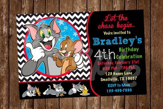 Tom And Jerry Birthday Invitation Denleys Shop Pinterest Birthdays