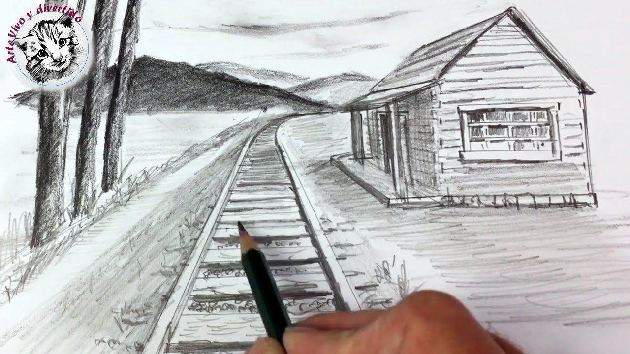 Como Dibujar Con Lapiz Clases De Dibujo Videos De Dibujo Arte Vivo Y Divertido Como Dibujar Paso A Perspectiva De Un Punto Paisaje A Lapiz Paisajes Dibujos