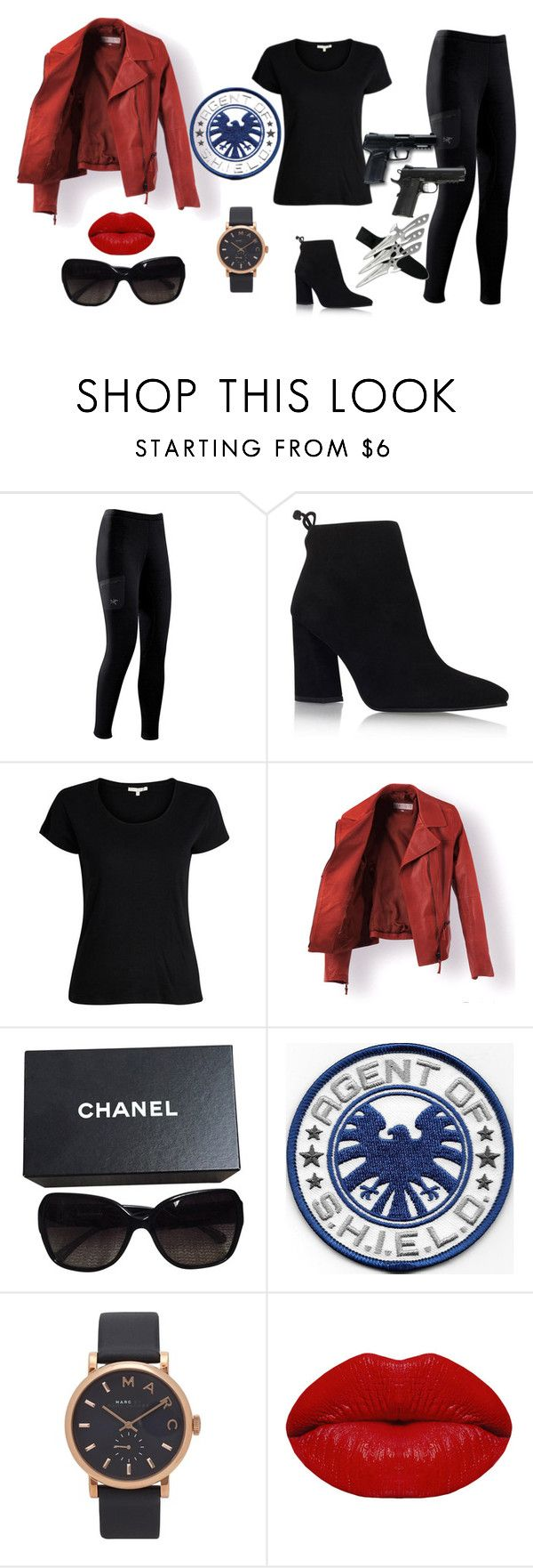 """""""(Y/F/N) Coulson"""" by itsjustbritty ❤ liked on Polyvore featuring Arc'teryx, Stuart Weitzman, Chanel, All Black, Marvel Comics, Marc Jacobs and Winky Lux"""