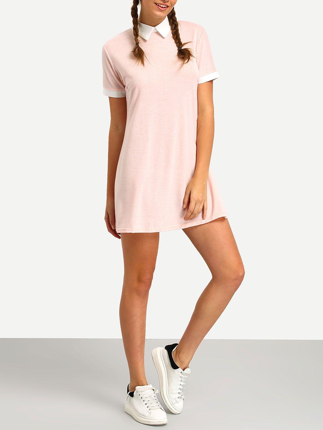 Shop pink contrast collar shirt dress online shein offers pink