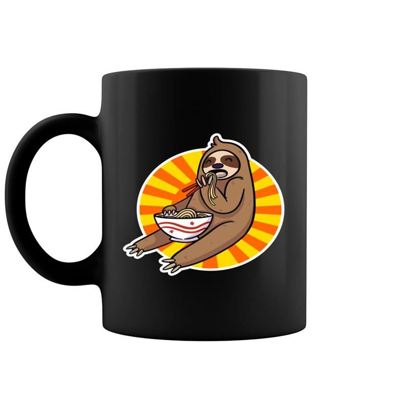 Japanese Kawaii Cute Baby Sloth Eating Ramen Noodles Food Coffee Mug 11 & 15 Oz #babysloth
