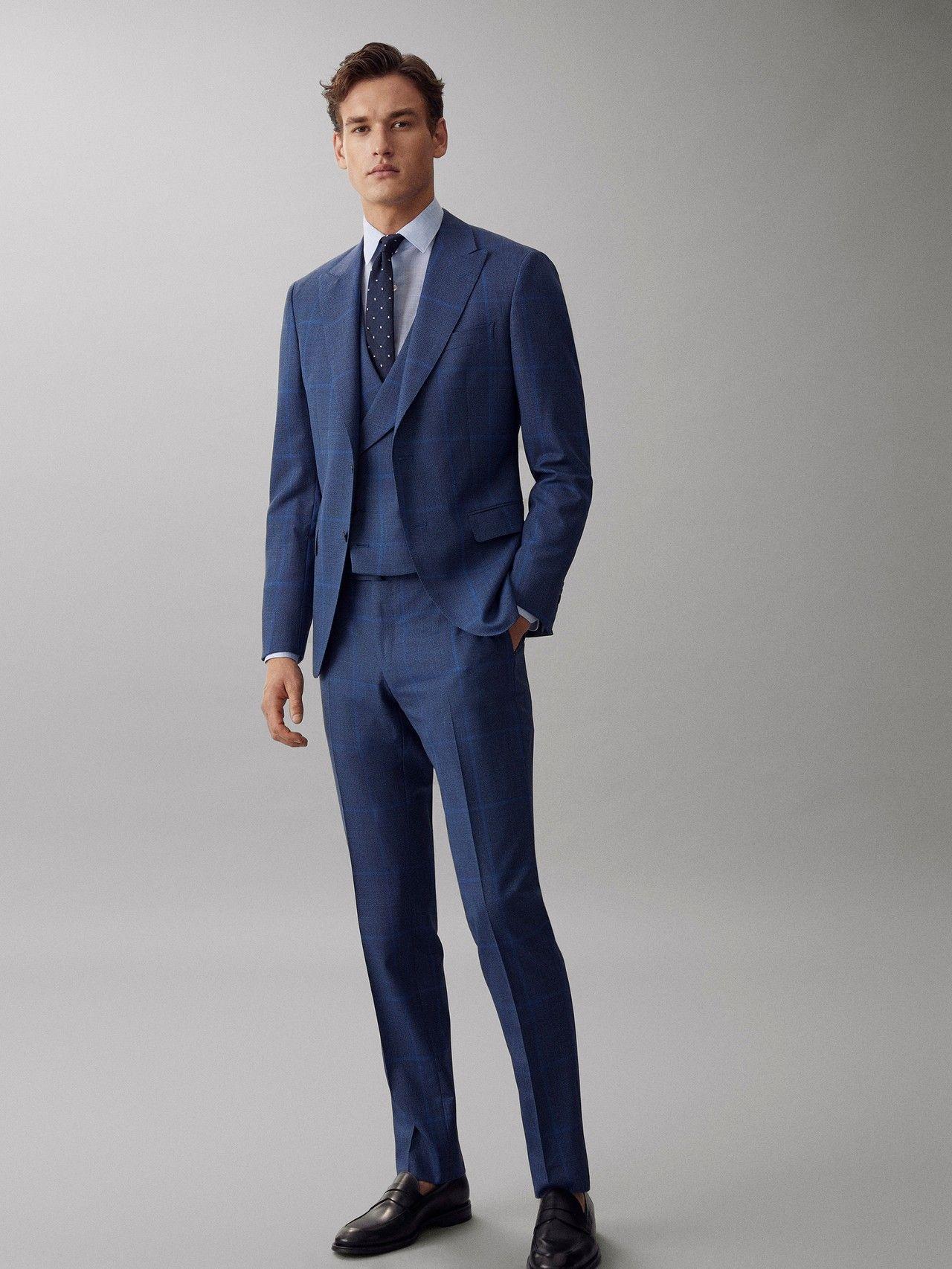 Massimo Dutti Hombre Pantalon Cuadros Azul Lana S 130 S Slim Fit Azul 50 Slim Fit Suit Wedding Blue Slim Fit Suit Blue Outfit Men