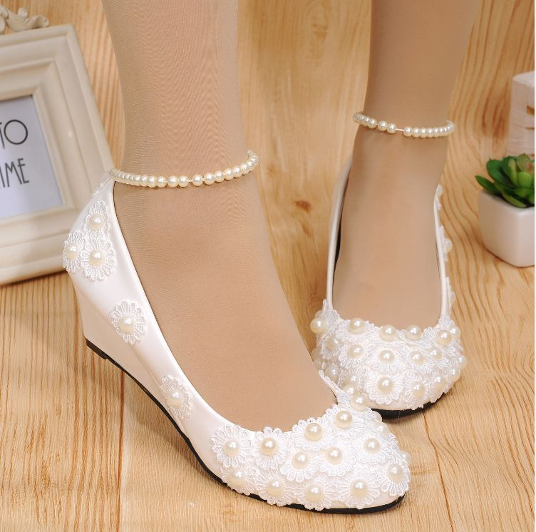 Details about White lace Wedding shoes pearls ankle trap