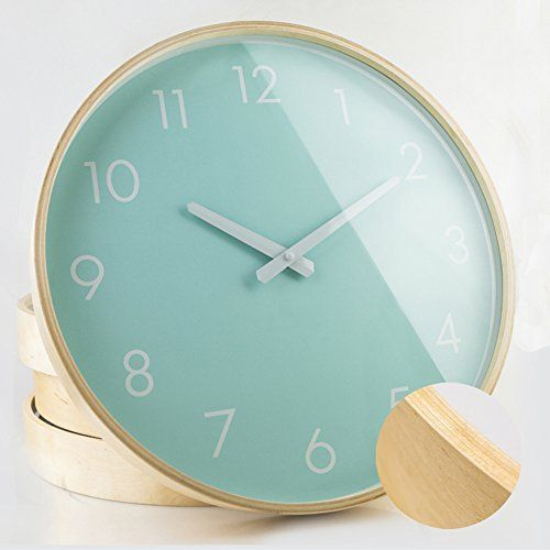 Hippih Silent Wall Clock Wood 12 Inches Non Ticking Digital Quiet Sweep Decorative Vintage Wooden Clocks Green Clock Wooden Clock Rustic Wall Clocks
