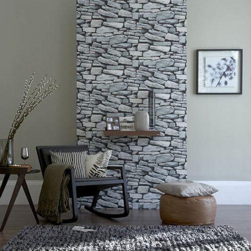 Natursteinwand im Wohnzimmer - der natürliche Charme von echtem - wohnzimmer retro style