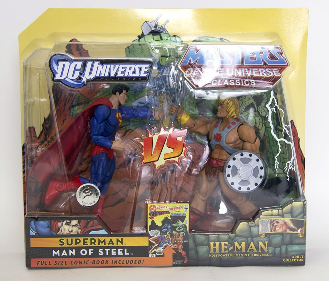 Dc Universe Amp Masters Of The Universe Classics Exclusive Action Figure 2 Pack Superman Vs Heman Action Figures Masters Of The Universe Superman