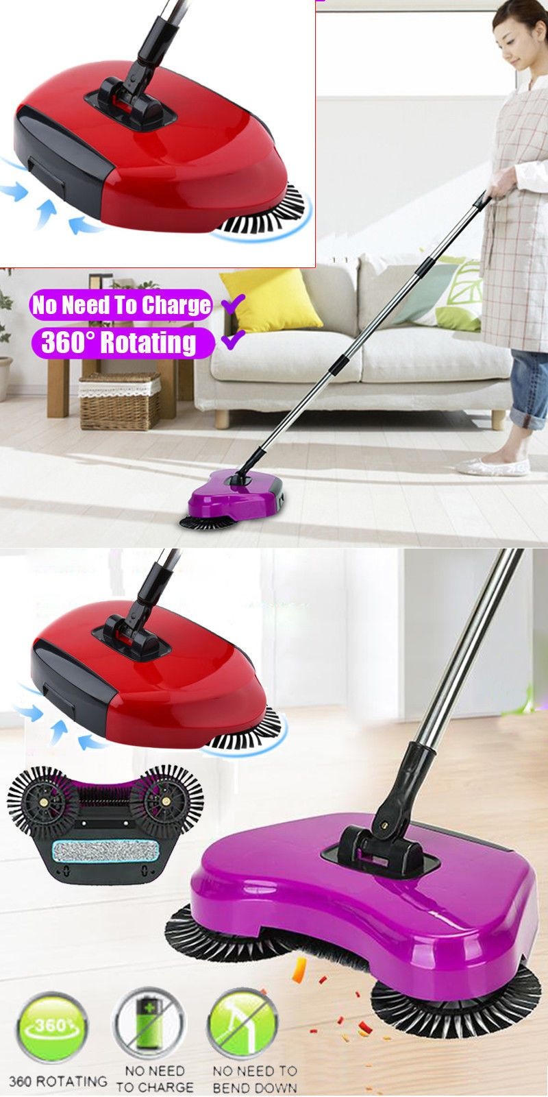 Details About Non Electric Spin Hand Push Sweeper Broom Household