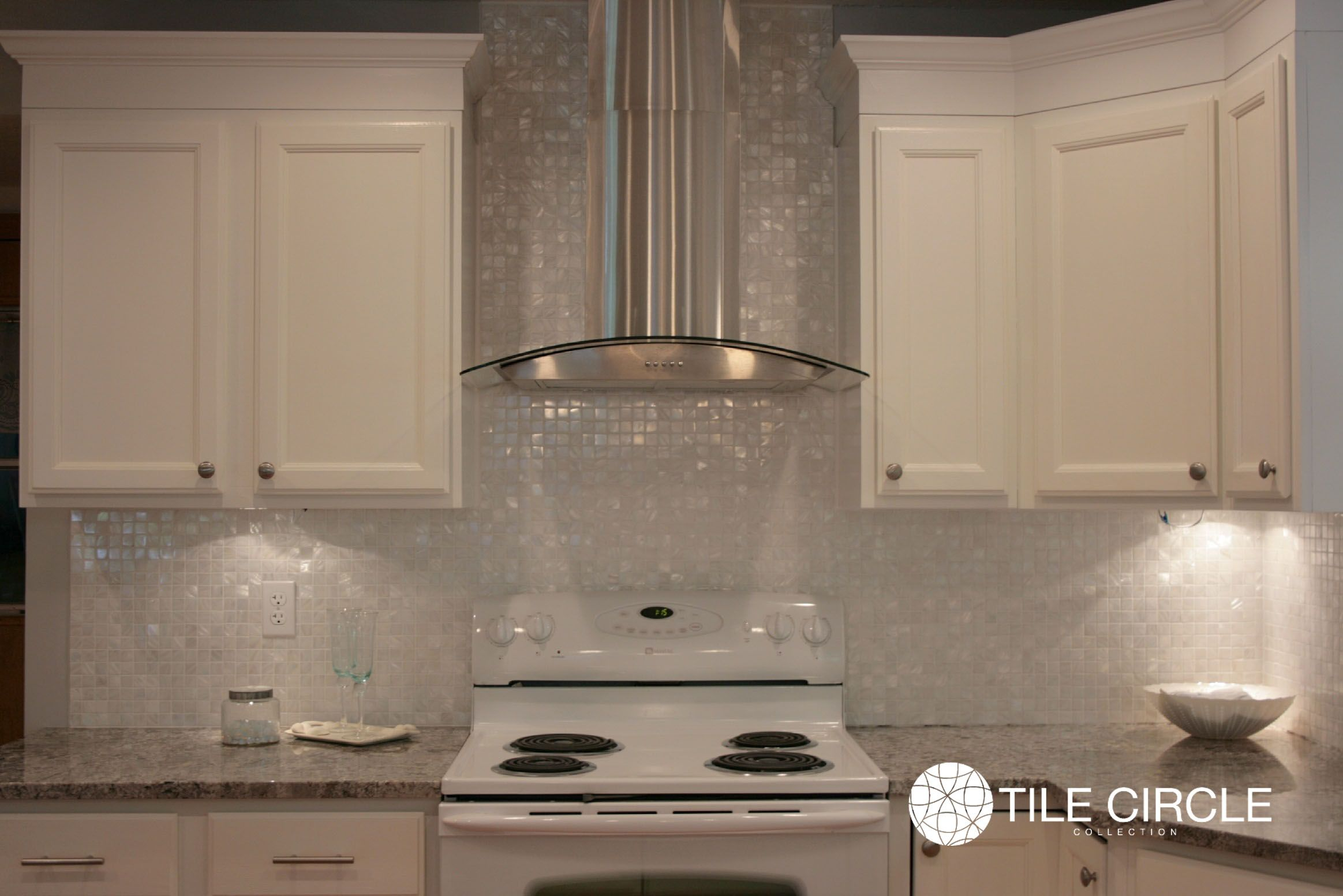 Mother Of Pearl 1 Squares Kitchen Backsplash By Tile Circle With White Cabinets Versatile Monochromatic Look Available Online Www Tilecircle