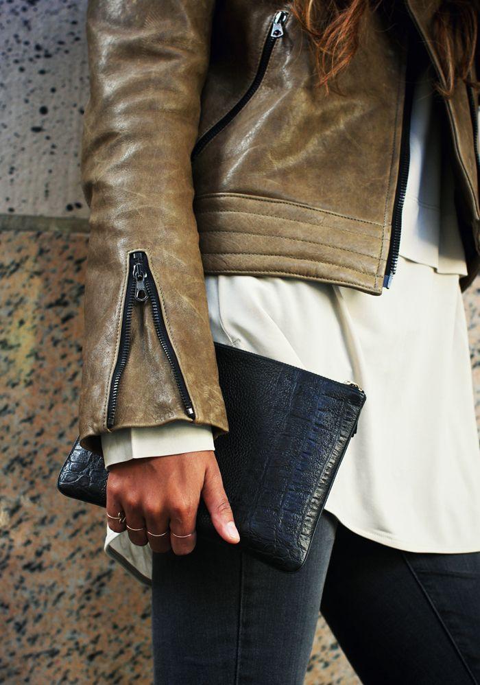 leather zipper detail