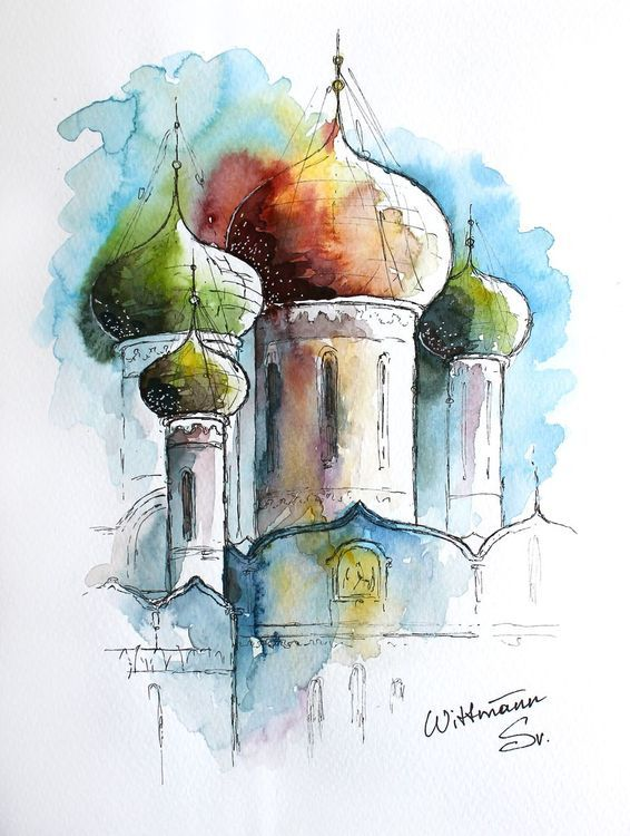 Watercolor Artwork With Bright Church Aquarelle Painting On Paper