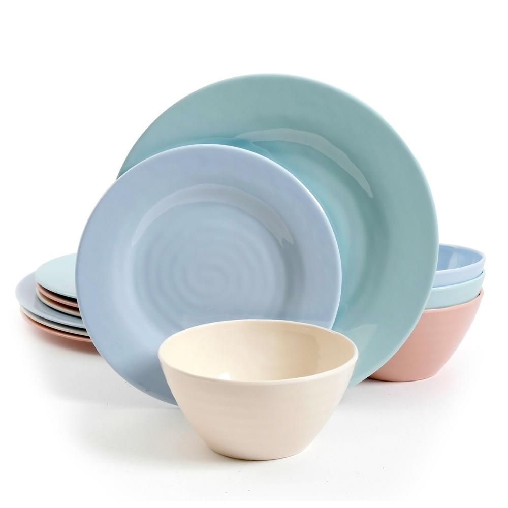 GIBSON elite Brist Pastels 12-Piece Assorted Colors Melamine Dinnerware Set (Service for 4) 985112059M - The Home Depot