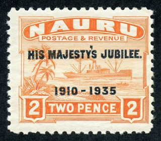 "Nauru  1935 Scott 32 2p orange  ""His Majesty's Jubilee"""