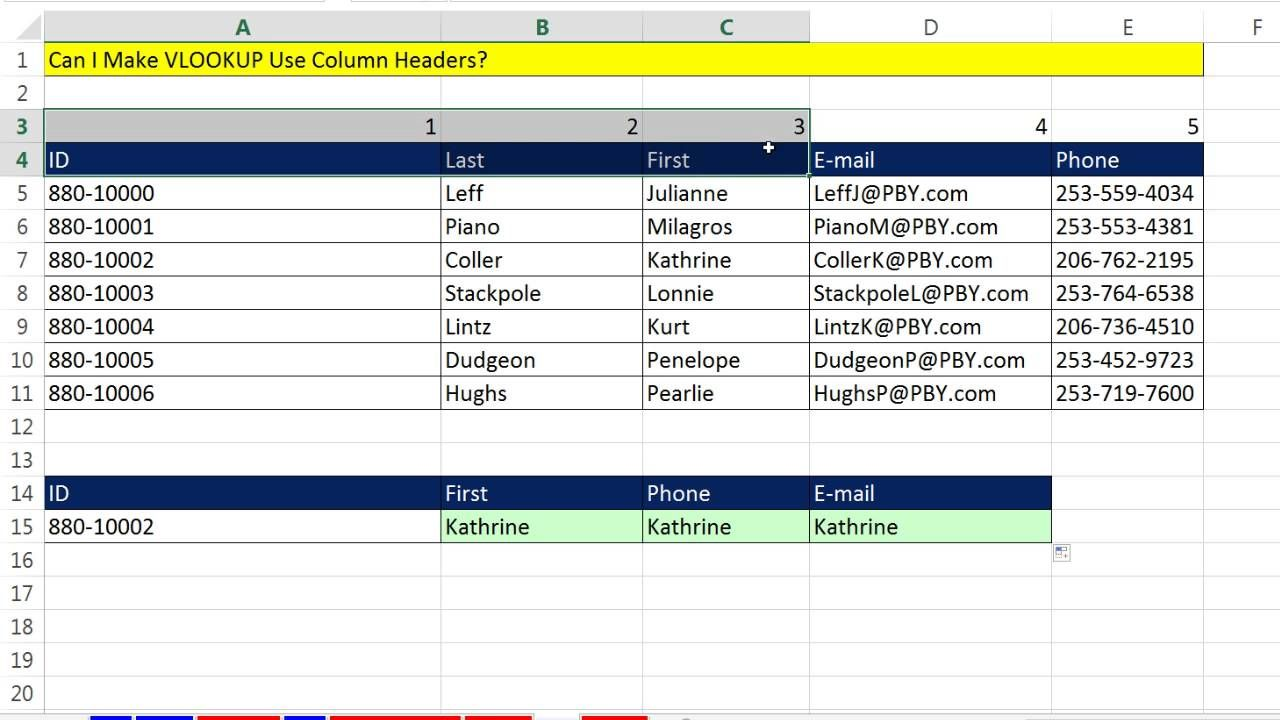 Excel Magic Trick 1253 Can I Make Vlookup Use Column Headers Yes Use Vlookup Match Budget Template Free Excel Column