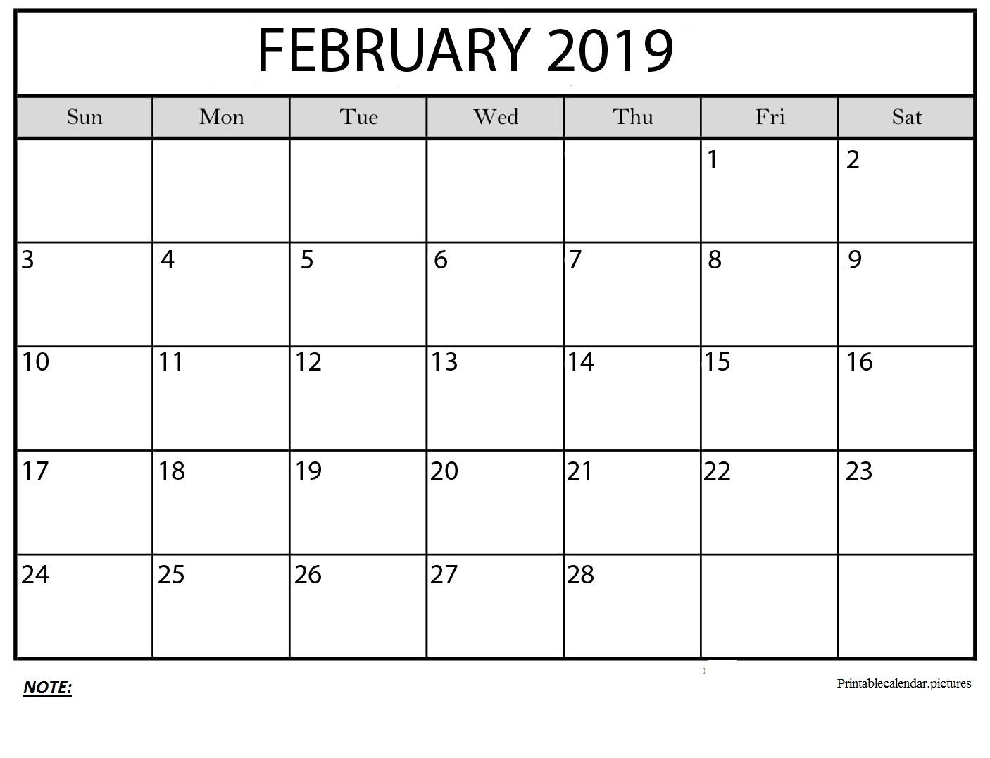 Free Monthly Calendar 2019 February Printable Template Pdf Excel