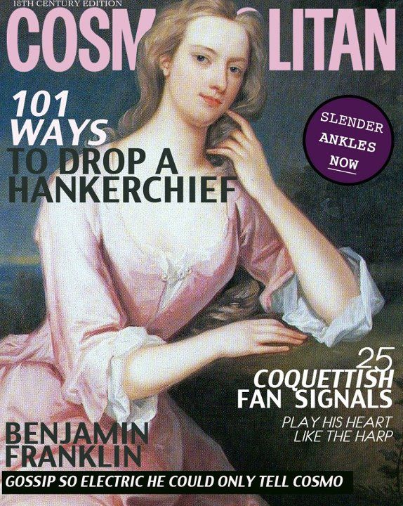 Cosmo from another time... coquettish fan signals!