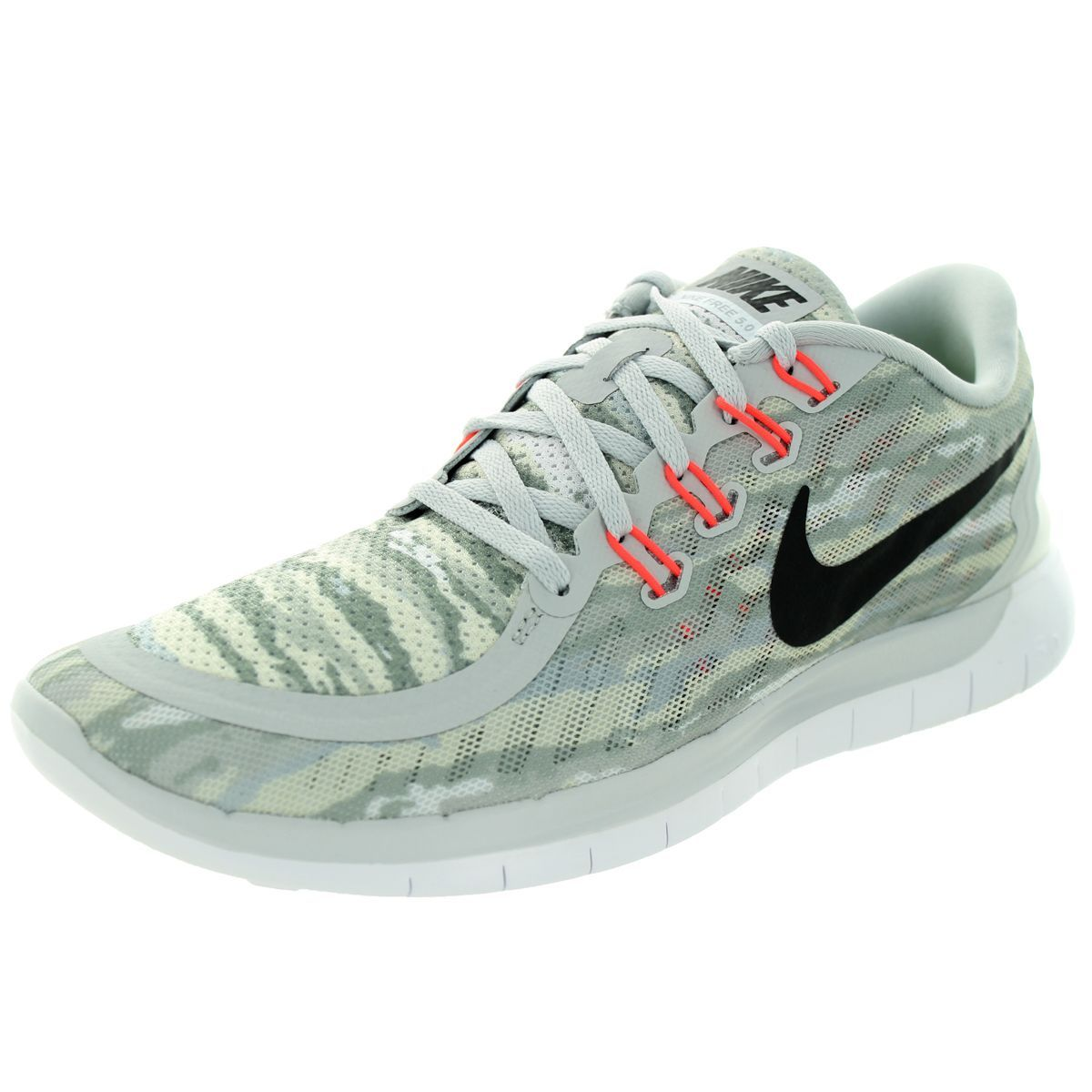new styles 3b641 6a3a8 Nike Men s Free 5.0 Print Pure Platinum Black Hot Lava Running Shoe