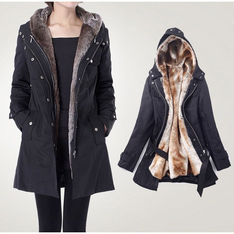2013 Faux fur lining women's winter warm long coat jacket ...