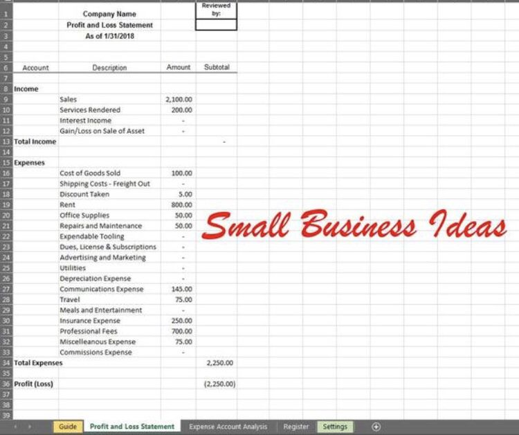 Business Income Calculator For Taxes Profit And Loss Statement Simple Calculator Bookkeeping