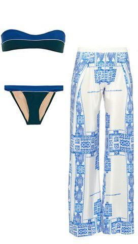 Zeus + Dione bandeau bikini and wide-leg silk trousers perfect for lounging