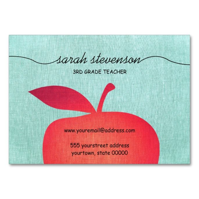 Big red apple chalkboard school teacher linen look large business big red apple chalkboard school teacher linen look large business cards pack of make your own business card with this great design reheart Choice Image