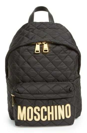 585f364420 MOSCHINO QUILTED NYLON LOGO BACKPACK - BLACK.  moschino  bags  patent   nylon  backpacks