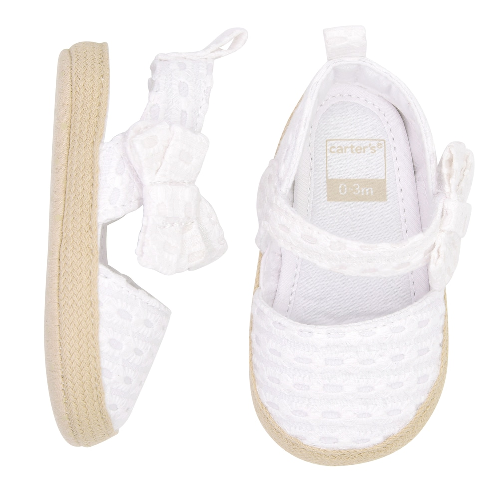 Carter/'s Infant Baby Girl 6-9 months Bow Woven Design Crib Shoes
