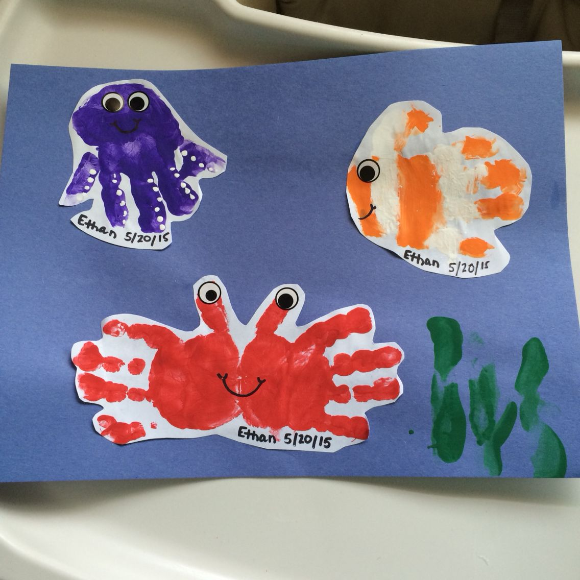 Daycare Children Handprint Animals Sea Animals Crab Fish