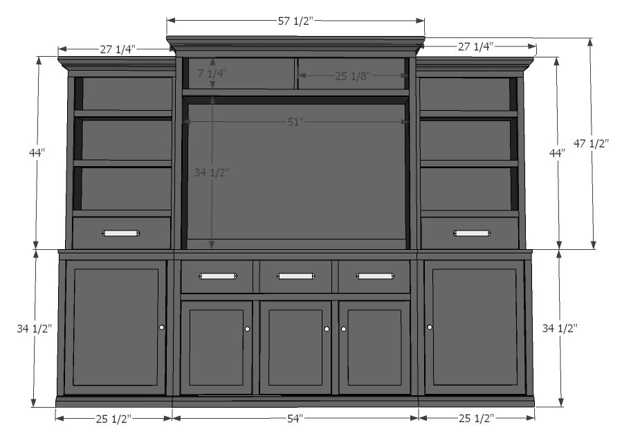 Side Base Cabinets (Rebecca Media Suite) #diyprojects