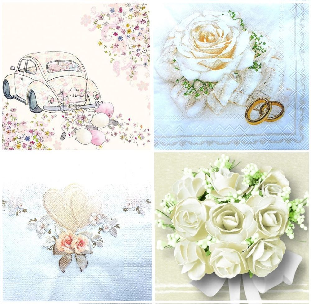4 Vintage Paper Napkins for Decoupage Lunch Decopatch Craft Party Wedding Plaque