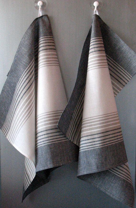 Tea Towel Set Stripes Striped Kitchen Towels Linen Hand Dish Black Gray White Of 2