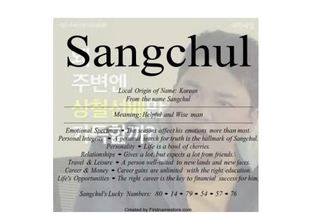 Meaning of the Korean male name Sangchul means helpful and wise