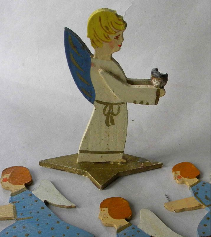 S German Handpainted Wooden Angel Candle Holder Exlibrisart Ebay