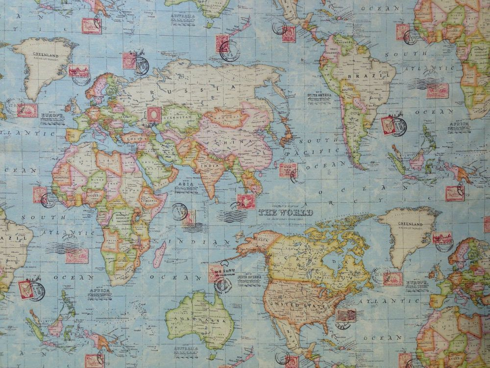 Atlas blue world map print green travel stamps curtain soft atlas blue world map print green travel stamps curtain soft furnishing fabric gumiabroncs